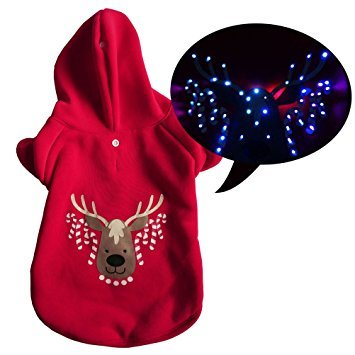 LED Light up Christmas Dog Hoodie